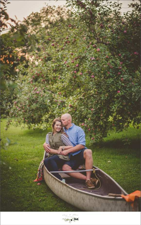 canoe in an apple orchard