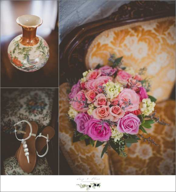 peach and light pink wedding details