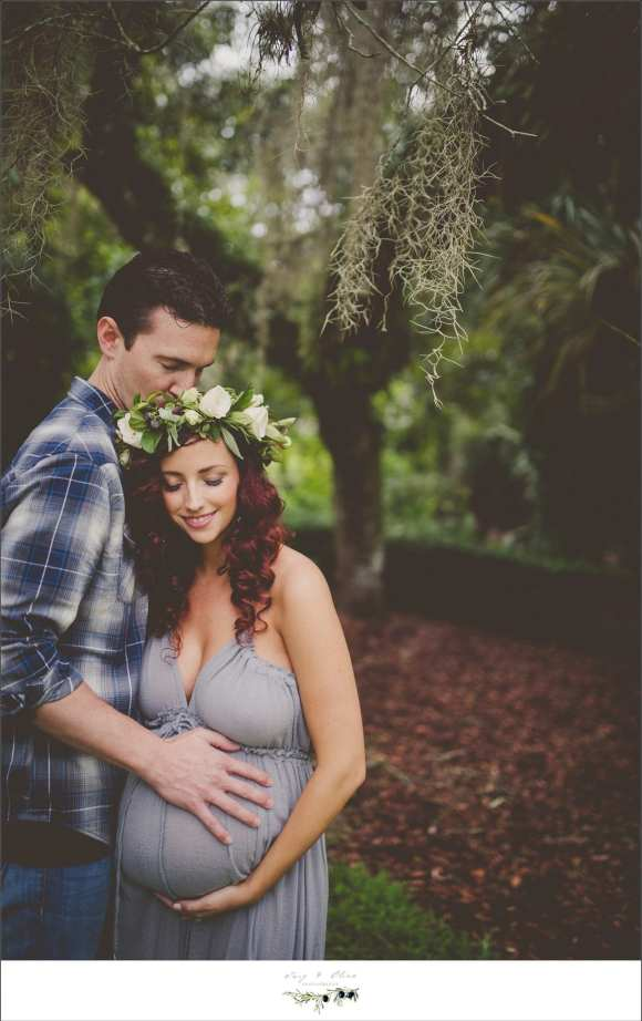 hair flower and silver maternity dress