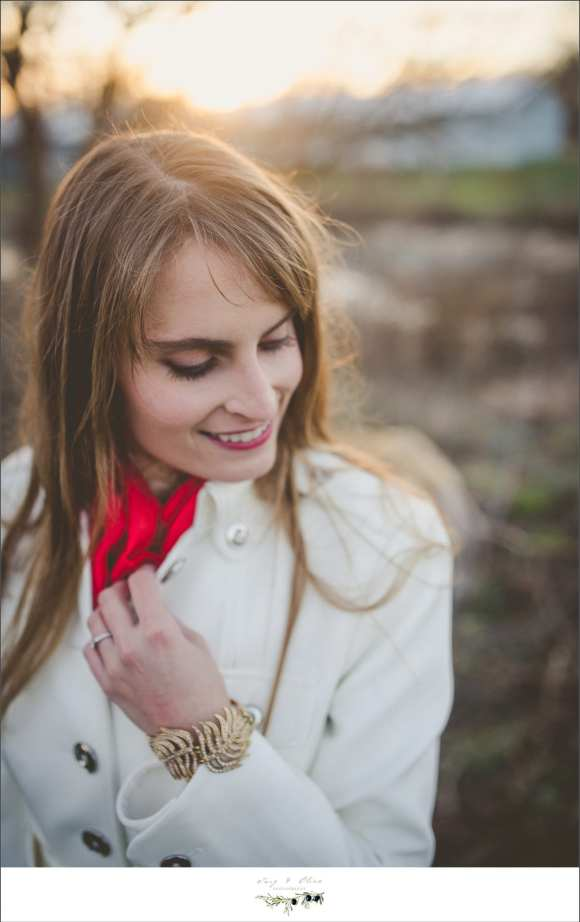 red scarf white jacket