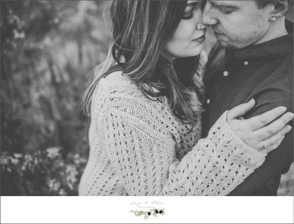 classic black and white engagement pose