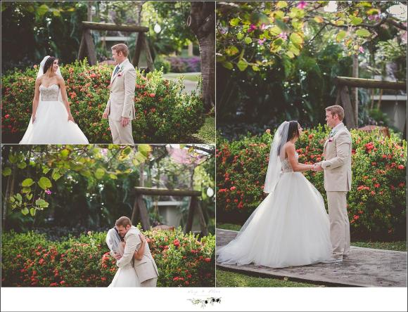 tropical first look wedding
