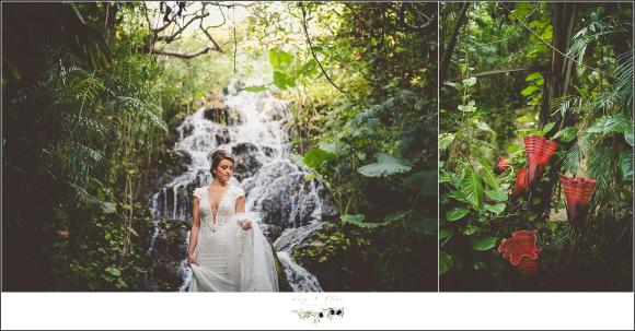 bride by waterfall