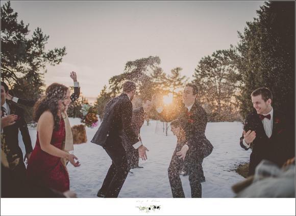 snow fight winter wedding