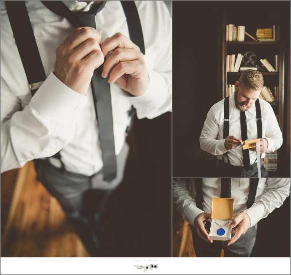 groom straitening his tie