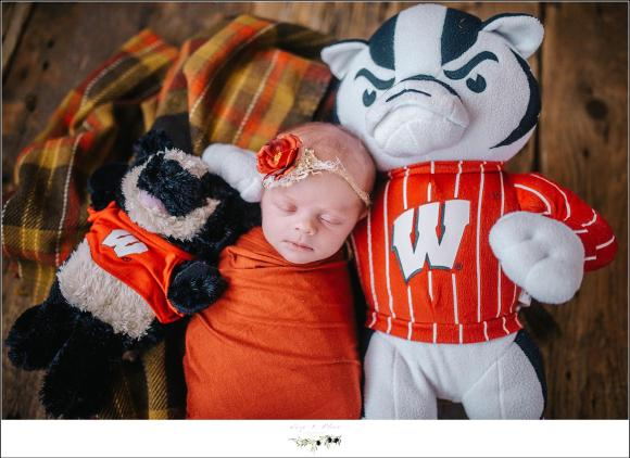 Baby girl with Bucky Badger WI