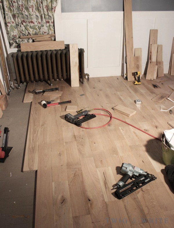 Installing Unfinished Oak Flooring in the dining room