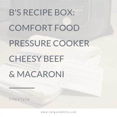 B's Recipe Box: Comfort Food Pressure Cooker Cheesy Burger and Pasta