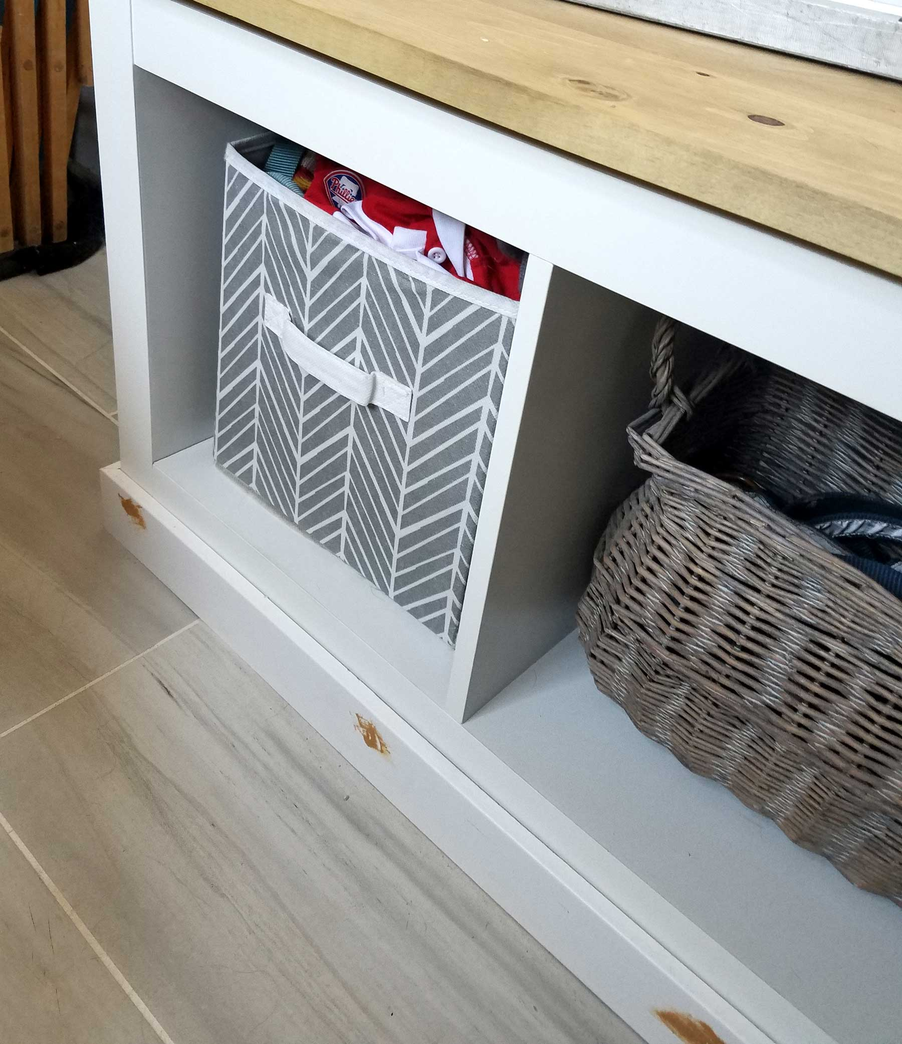 diy mudroom bench base trim