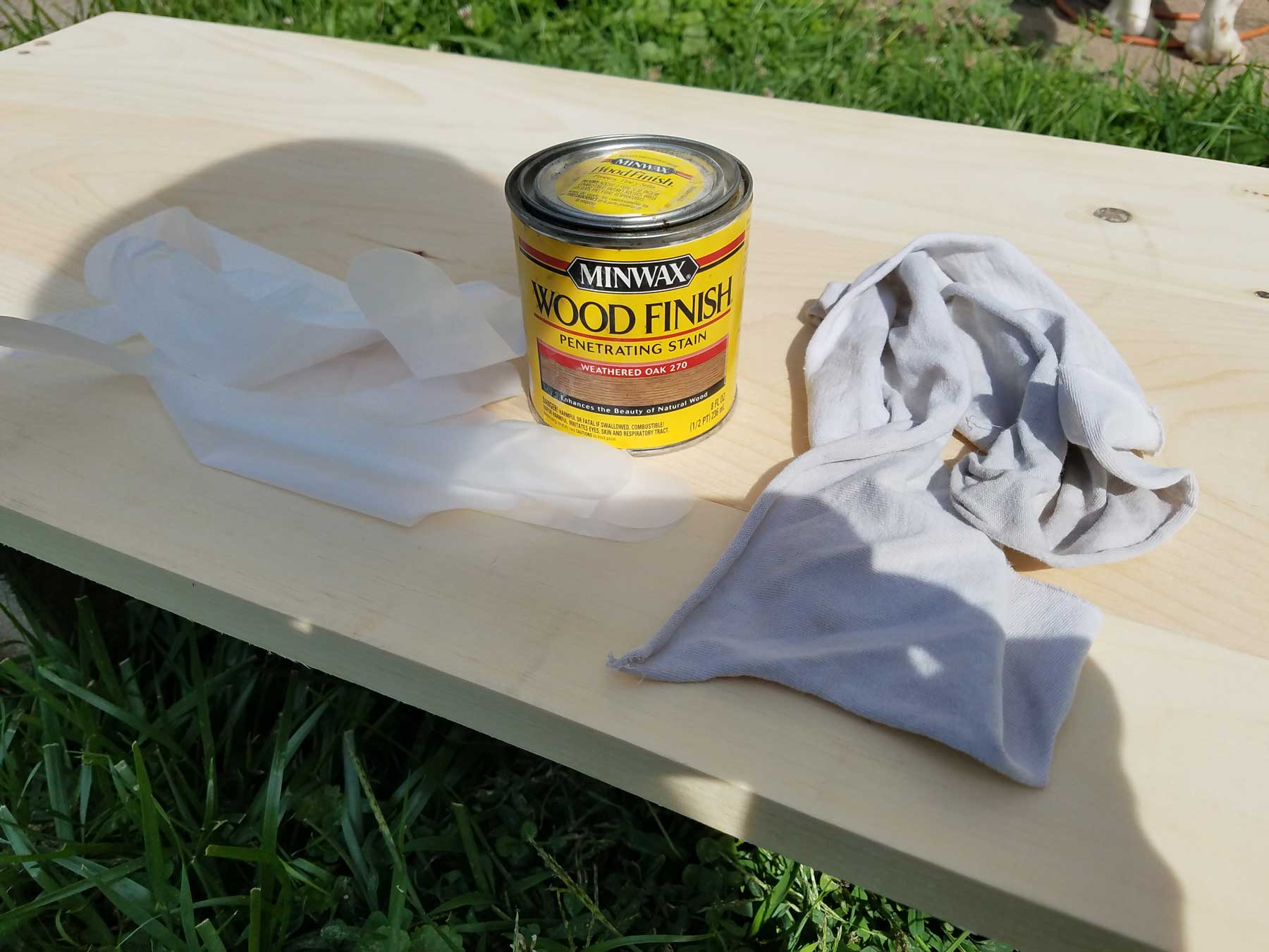 diy bench top stain