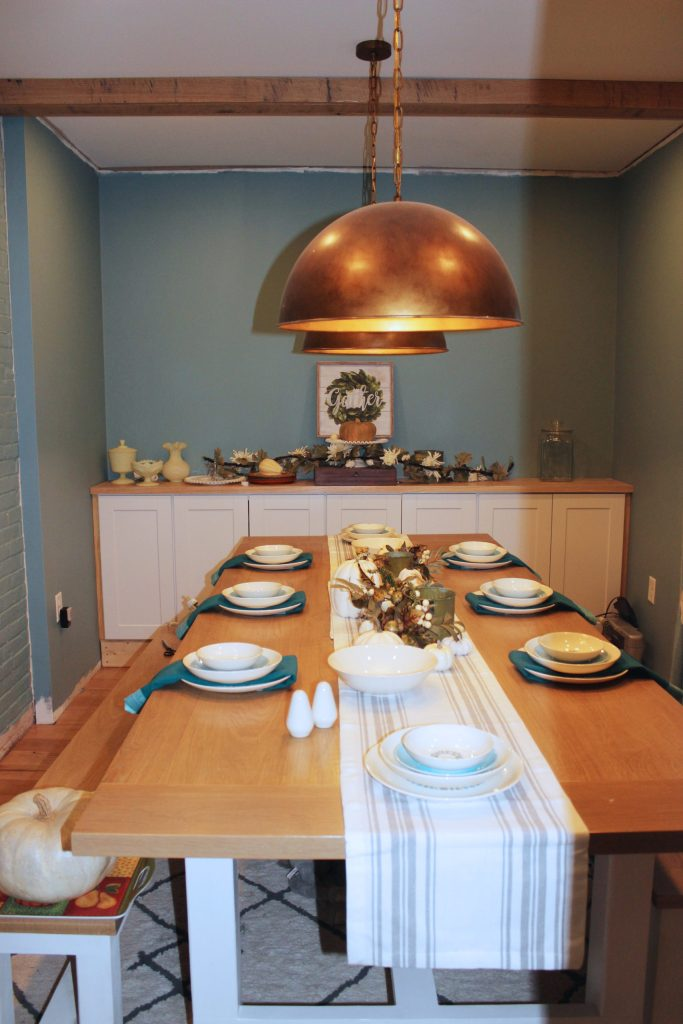 teal and ivory thanksgiving tablescape