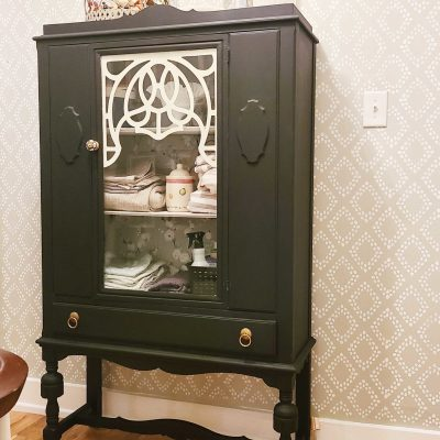 Upstairs Landing Reveal + Vintage Cabinet Makeover