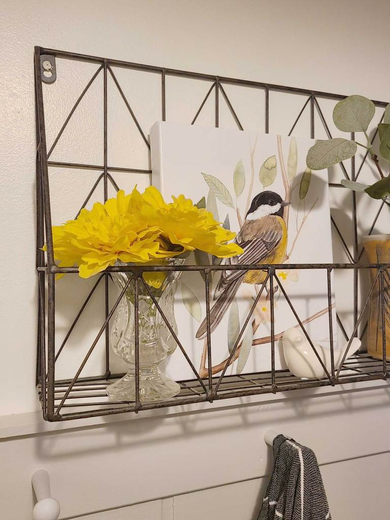 spring decor in the powder room