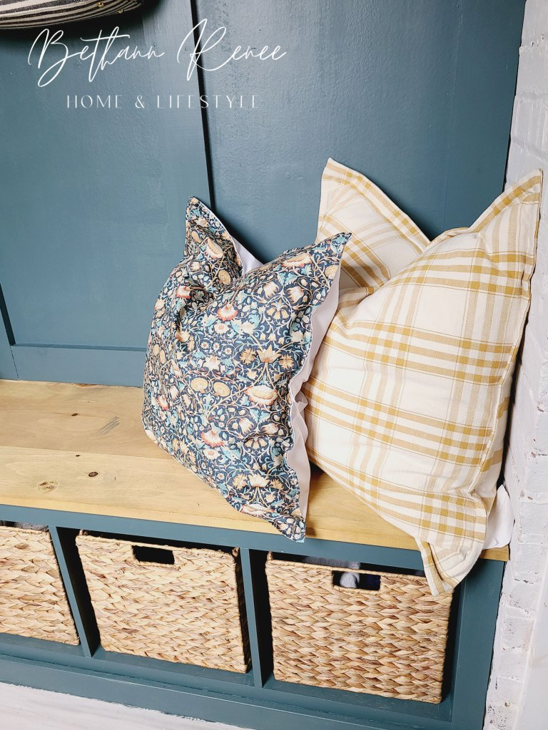 fall mudroom bench pillows