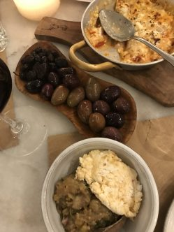 olives, bougiourdo, and melitzanosalata