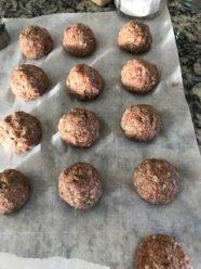 Meatballs on parchment paper