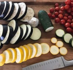 "Slice the eggplant & zucchini into 1/2"" thick rounds"