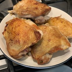 Brown the chicken thighs or chicken breasts on medium-high 3-5 minutes on both sides then set aside on a plate