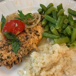 Served with riced cauliflower & green beans