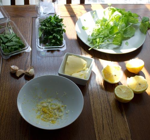 ingredients for mint-lemon-garlic chicken