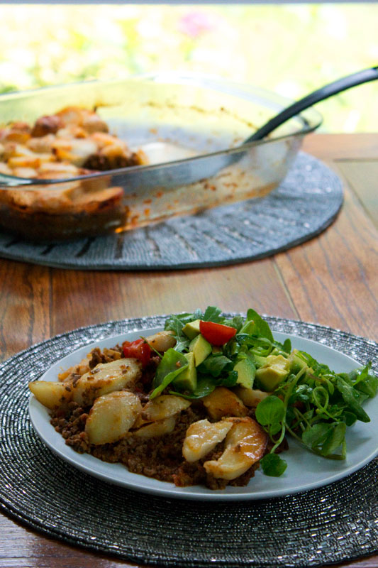 cottage pie with salad