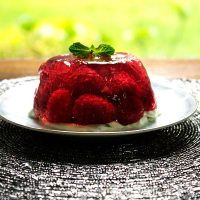 A Jelly of Fresh Raspberries with Fresh Mint Cream