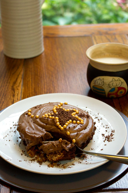chocolate gingerbread mousse cake with a cup of coffe
