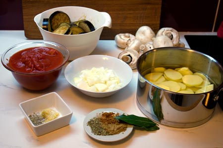 ingredients for mushroom moussaka