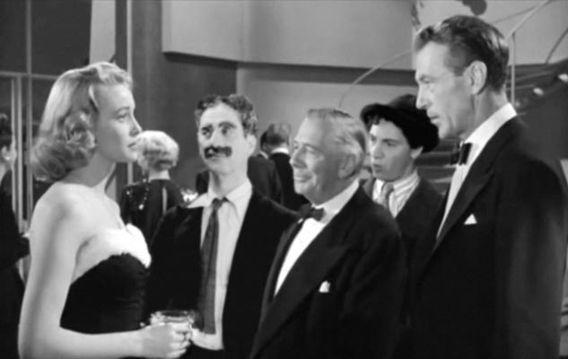 Patricia Neal, Groucho Marx, Ray Collins, Chico Marx and Gary Cooper