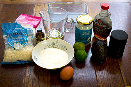 ingredients for lime and coconut loaf with sweet avocado and lime cream