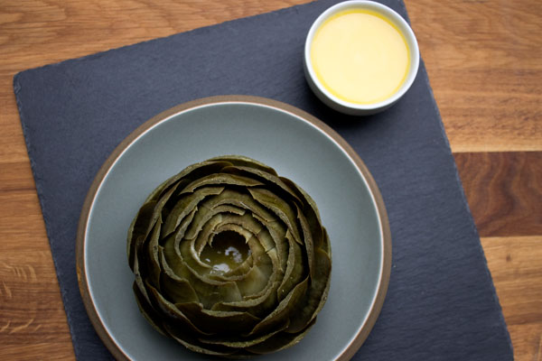 artichoke with lemon garlic butter