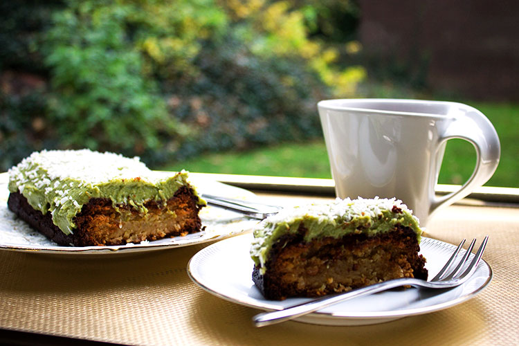 lime and coconut loaf with sweet avocado cream and a cuppa