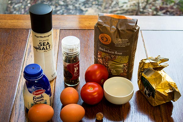 Ingredients for gluten-free simple summer quiche