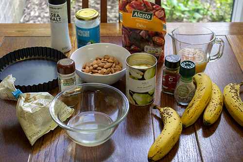 ingredients for banana pear pie