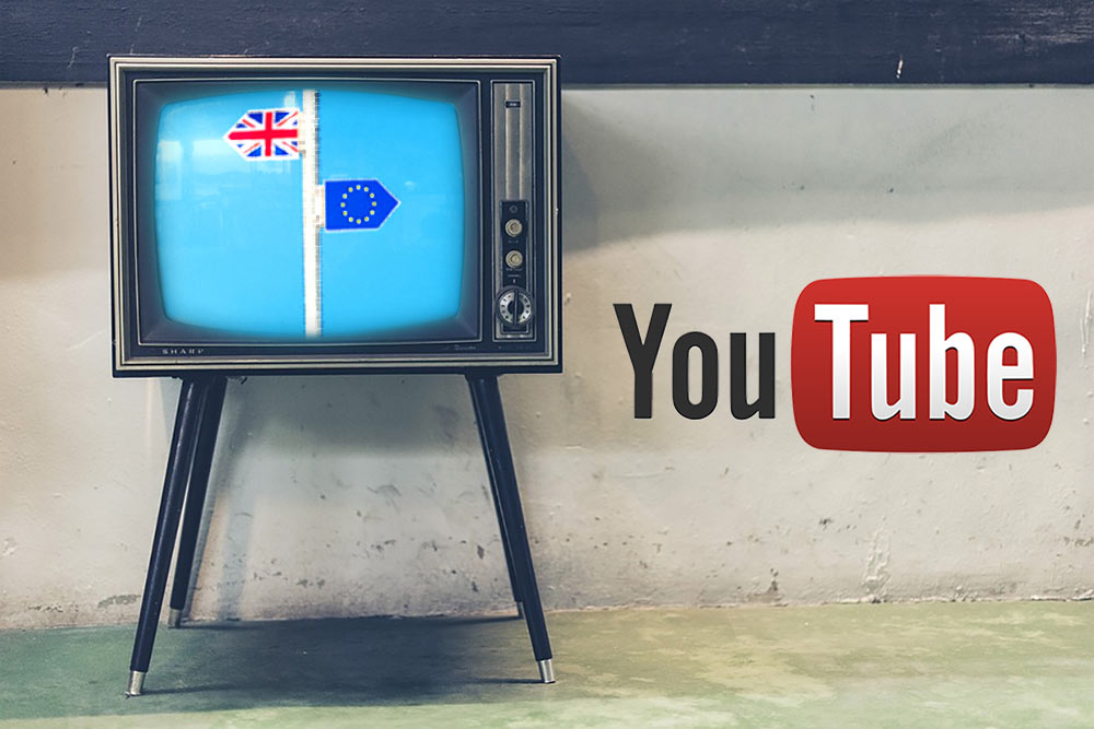 TV with image symbolic of Brexit, and Youtube logo.