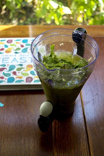 very green iced tea ingredients in a blender