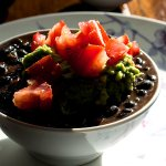 Stewed Black Beans with Avocado Sour Cream and Chopped Tomatoes