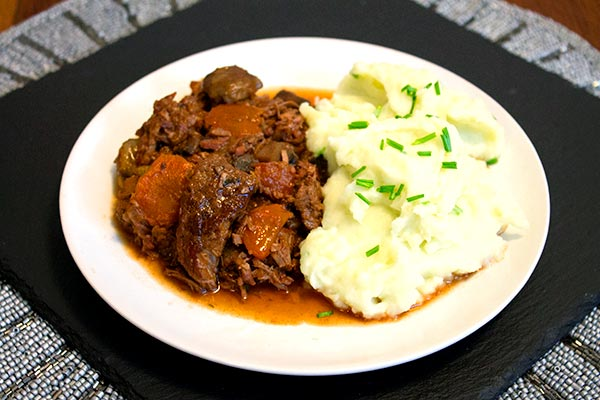 Beef and chestnut stew served with creamy mash with chives.