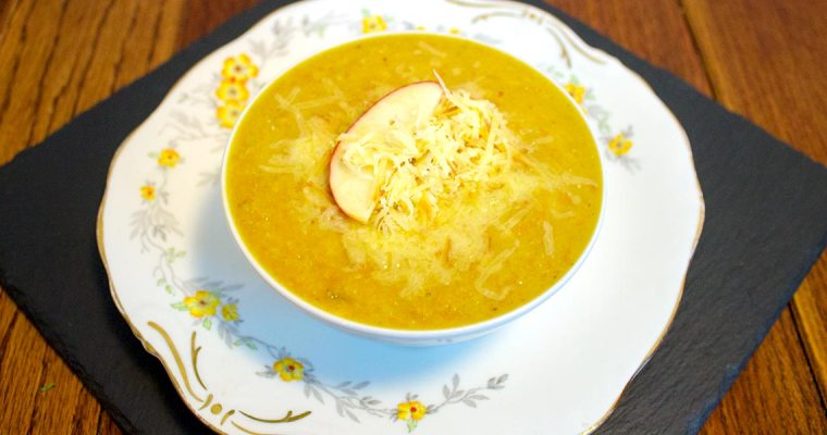 Vegetarian Split Pea Soup with Apple and Smoked Cheese