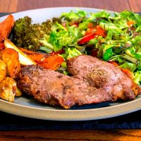 Grilled Lamb Leg Steaks with Roasted Veg and Salad