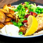 Baked Salmon Fillet With Roast Potatoes and Salad