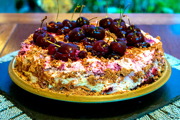 Black Forest Gateau with fresh cherries