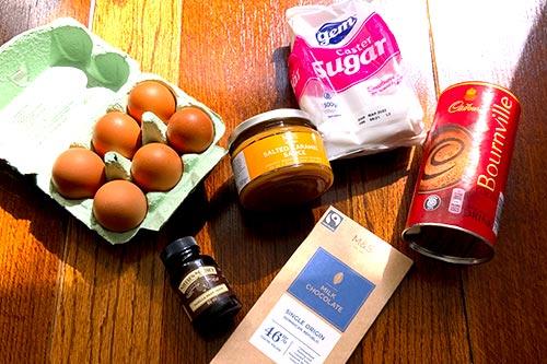 Ingredients for caramel chocolate cake bars