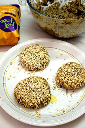 black bean burgers covered in oats