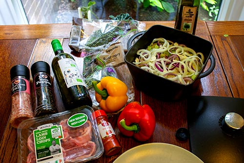 The ingredients for lamb peka