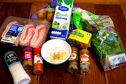 ingredients for grilled pork belly chops with potatoes and parsley sauce