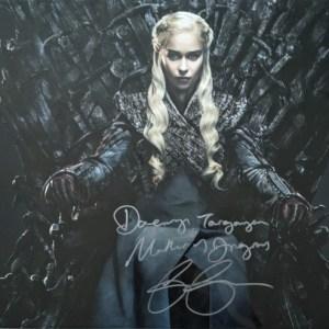 Emilia Clarke Signed 16x20 Daenerys on Iron Throne