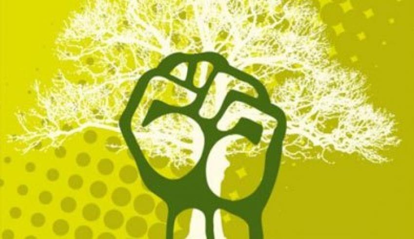 An illustration of a raised fist in front of a tree.