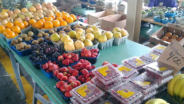 How does one find fresh strawberries, oranges, and grapes in May in Minneapolis? Unlike the St. Paul Farmers' Market, the Minneapolis market allows resellers to bring in fresh produce from California or elsewhere.