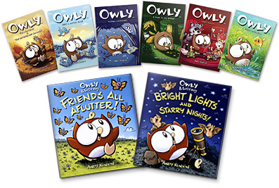 All eight of the Owly graphic novels